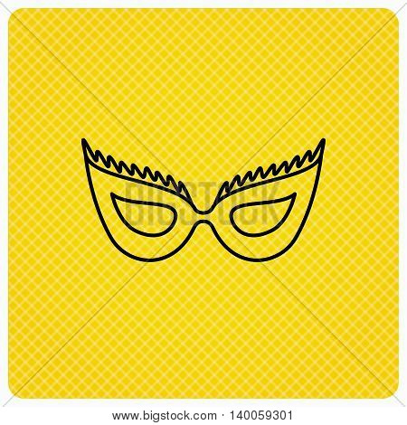 Festive mask icon. Masquerade carnival sign. Anonymous symbol. Linear icon on orange background. Vector