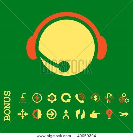 Call Center Operator glyph bicolor icon. Image style is a flat pictogram symbol, orange and yellow colors, green background.