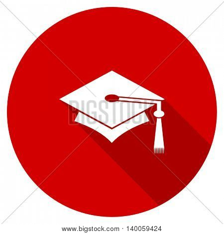 education red vector icon, circle flat design internet button, web and mobile app illustration