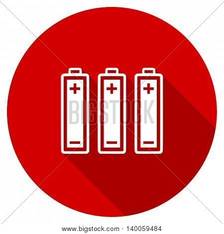 battery red vector icon, circle flat design internet button, web and mobile app illustration