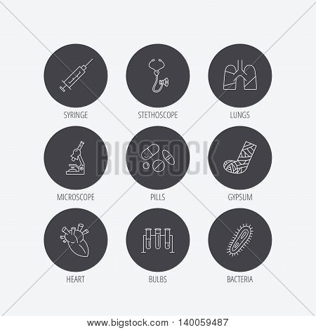 Broken foot, lungs and syringe icons. Stethoscope, pills and microscope linear signs. Bacteria, heart and lab bulbs flat line icons. Linear icons in circle buttons. Flat web symbols. Vector