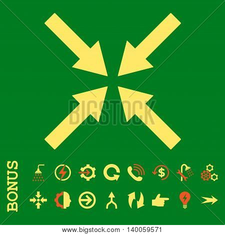 Center Arrows glyph bicolor icon. Image style is a flat iconic symbol, orange and yellow colors, green background.