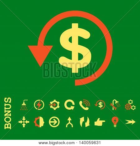 Chargeback glyph bicolor icon. Image style is a flat iconic symbol, orange and yellow colors, green background.