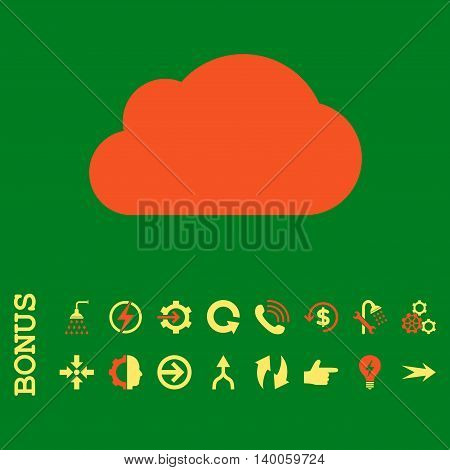 Cloud glyph bicolor icon. Image style is a flat pictogram symbol, orange and yellow colors, green background.