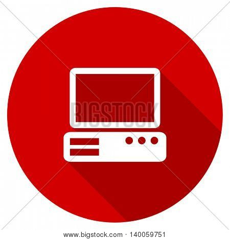 computer red vector icon, circle flat design internet button, web and mobile app illustration