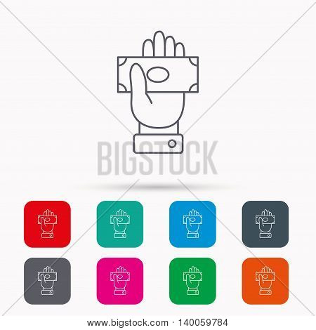 Money icon. Cash in giving hand sign. Payment symbol. Linear icons in squares on white background. Flat web symbols. Vector