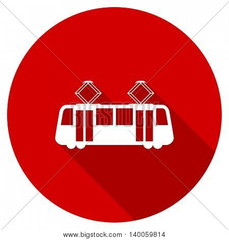 tram red vector icon, circle flat design internet button, web and mobile app illustration