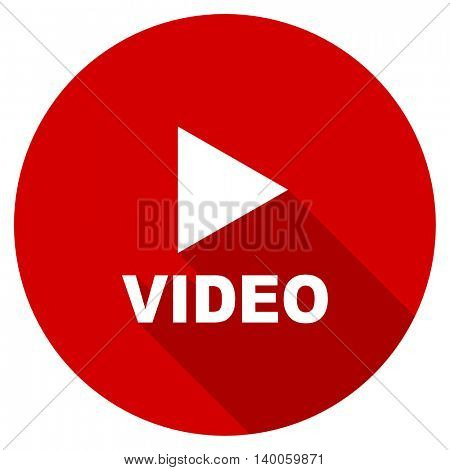 video red vector icon, circle flat design internet button, web and mobile app illustration