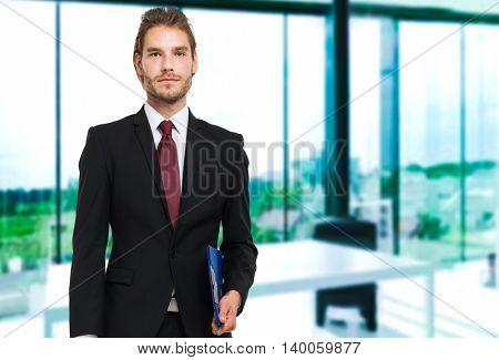 Handsome blond male manager portrait