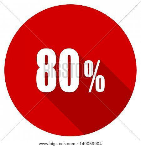 80 percent red vector icon, circle flat design internet button, web and mobile app illustration
