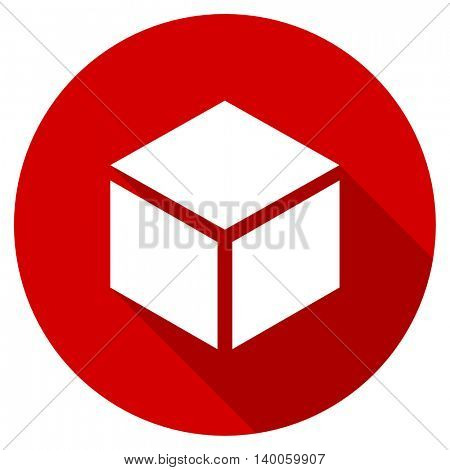 box red vector icon, circle flat design internet button, web and mobile app illustration