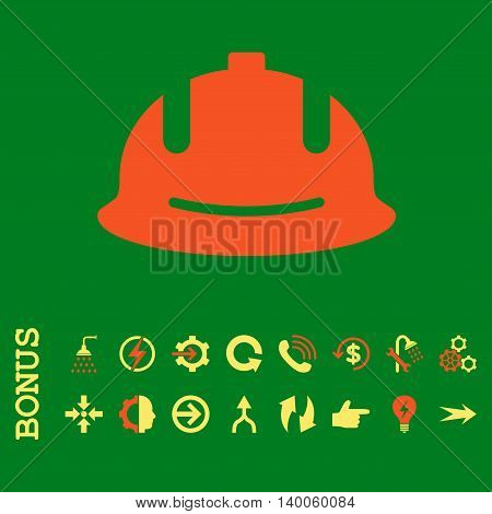 Construction Helmet glyph bicolor icon. Image style is a flat iconic symbol, orange and yellow colors, green background.