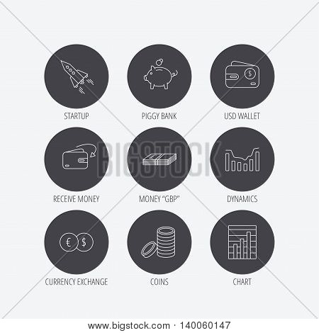 Piggy bank, cash money and startup rocket icons. Wallet, currency exchange and dollar usd linear signs. Chart, coins and dynamics icons. Linear icons in circle buttons. Flat web symbols. Vector