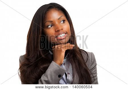 Thoughtful black businesswoman