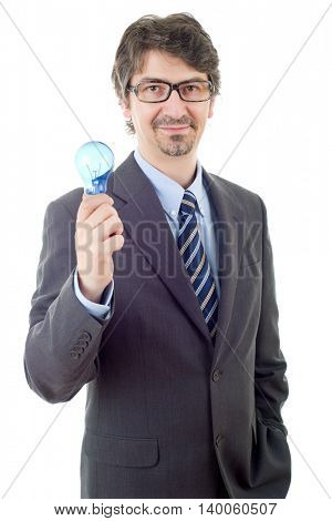 silly business man with a lamp isolated on white