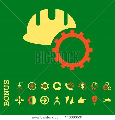 Development Hardhat glyph bicolor icon. Image style is a flat pictogram symbol, orange and yellow colors, green background.