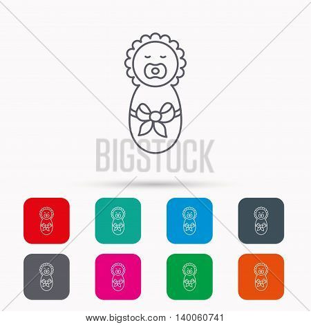 Newborn baby icon. Toddler with bow sign. Child wrapped in blanket symbol. Linear icons in squares on white background. Flat web symbols. Vector