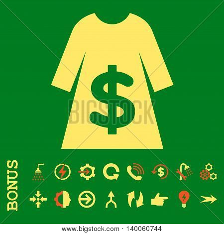 Dress Sale glyph bicolor icon. Image style is a flat pictogram symbol, orange and yellow colors, green background.