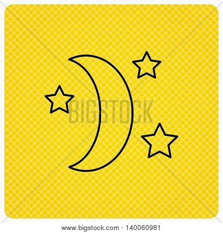 Night or sleep icon. Moon and stars sign. Crescent astronomy symbol. Linear icon on orange background. Vector