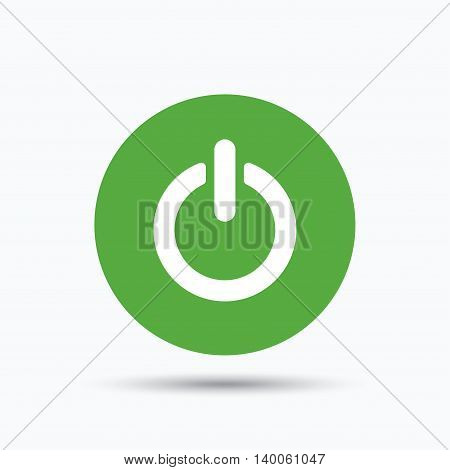 On, off power icon. Energy switch symbol. Flat web button with icon on white background. Green round pressbutton with shadow. Vector