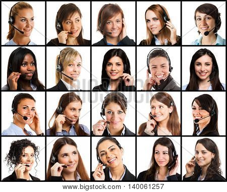 Collection of women using headsets