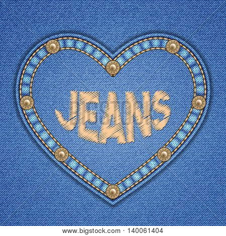 Heart shaped patch with rivets and embroidered text message on denim background. Vector illustration