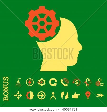 Head Gear glyph bicolor icon. Image style is a flat iconic symbol, orange and yellow colors, green background.