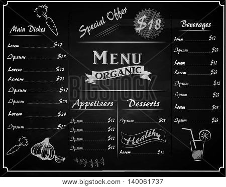 A full vector template organic Chalkboard menu for restaurant and hand drawn elements