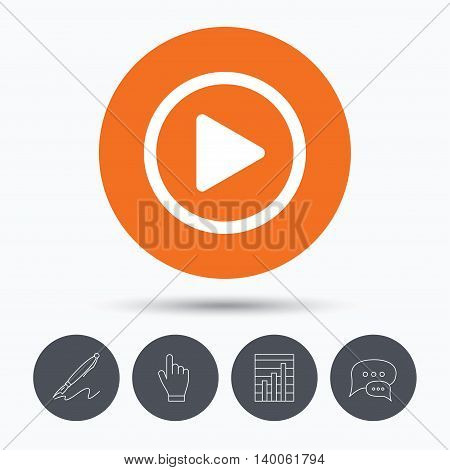 Play icon. Audio or Video player symbol. Speech bubbles. Pen, hand click and chart. Orange circle button with icon. Vector