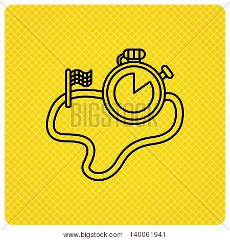 Race road icon. Finishing flag with timer sign. Linear icon on orange background. Vector