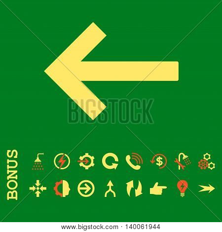 Left Arrow glyph bicolor icon. Image style is a flat pictogram symbol, orange and yellow colors, green background.