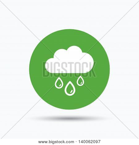 Cloud with rain drops icon. Rainy day symbol. Flat web button with icon on white background. Green round pressbutton with shadow. Vector