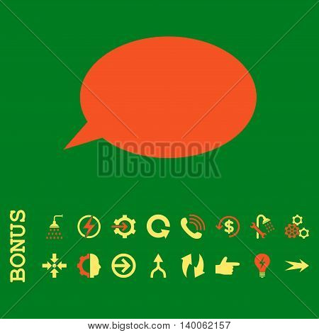 Message Cloud glyph bicolor icon. Image style is a flat pictogram symbol, orange and yellow colors, green background.