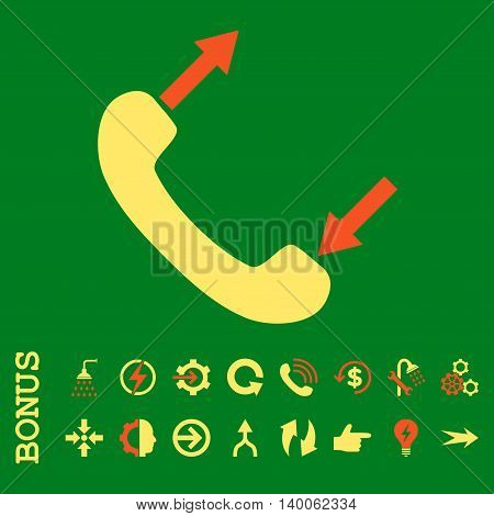 Phone Talking glyph bicolor icon. Image style is a flat pictogram symbol, orange and yellow colors, green background.