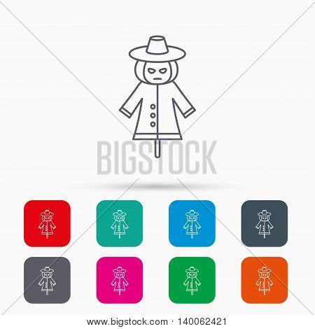 Scarecrow icon. Human silhouette with pumpkin head sign symbol. Linear icons in squares on white background. Flat web symbols. Vector