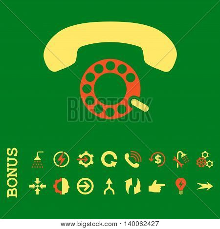 Pulse Dialing glyph bicolor icon. Image style is a flat iconic symbol, orange and yellow colors, green background.