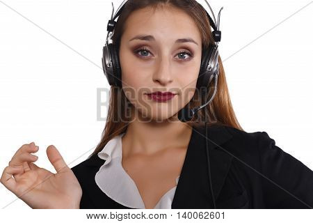 Portrait of beautiful telemarketer woman. Isolated white background.
