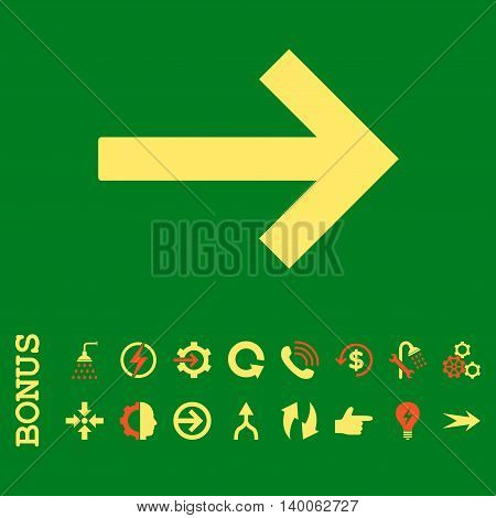 Right Arrow glyph bicolor icon. Image style is a flat iconic symbol, orange and yellow colors, green background.