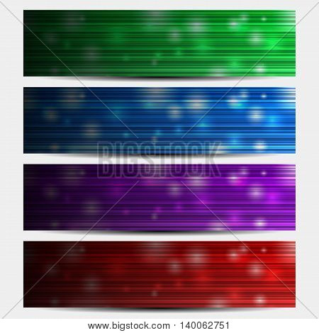 Set of abstract backgrounds with glowing bokeh effect. May be used as the header of the site horizontal banners. Vector illustration.