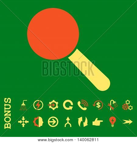 Search Tool glyph bicolor icon. Image style is a flat iconic symbol, orange and yellow colors, green background.