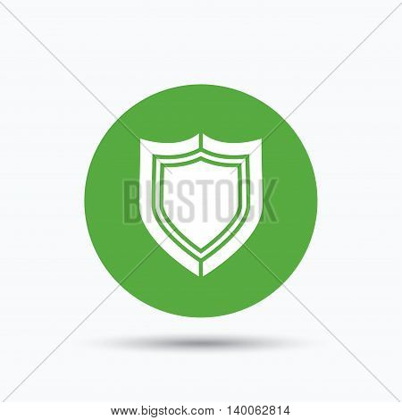 Shield protection icon. Defense equipment symbol. Flat web button with icon on white background. Green round pressbutton with shadow. Vector