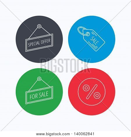 Special offer, discounts and sale coupon icons. For sale linear sign. Linear icons on colored buttons. Flat web symbols. Vector