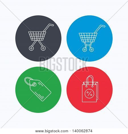 Shopping cart, discounts bag and price tag icons. Sale coupon linear sign. Linear icons on colored buttons. Flat web symbols. Vector