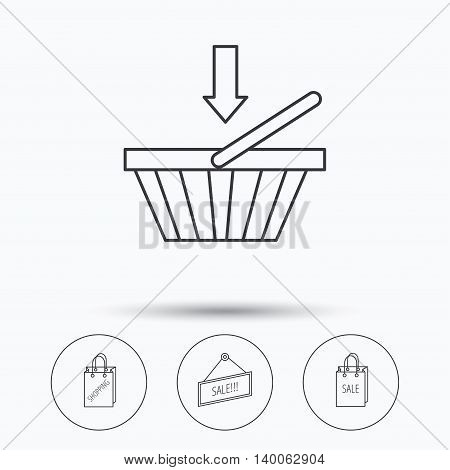 Shopping cart, sale bag icons. Sale label linear sign. Linear icons in circle buttons. Flat web symbols. Vector