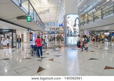 HONG KONG - MAY 12, 2016: inside of Hong Kong International Airport. Hong Kong International Airport is the main airport in Hong Kong. It is located on the island of Chek Lap Kok.