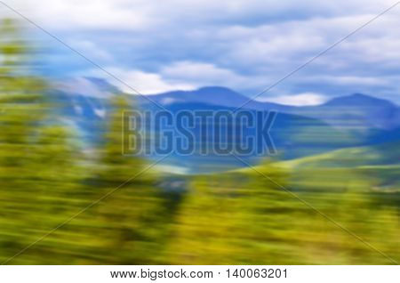 Blurred of mountain and trees national park background