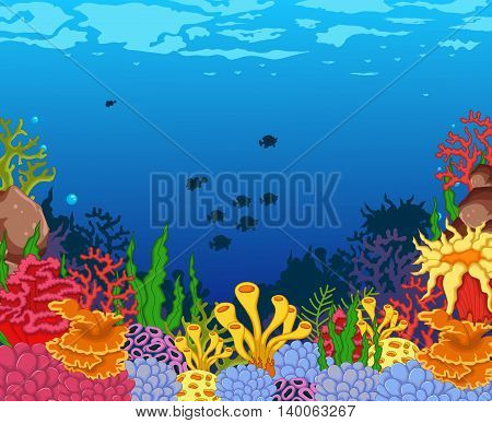 beauty corals cartoon with underwater view background