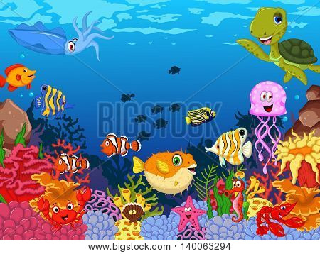 funny sea animals cartoon set with sea life background
