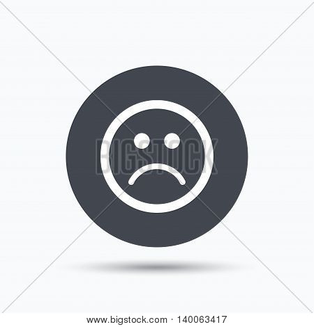 Sad smiley icon. Bad feedback symbol. Flat web button with icon on white background. Gray round pressbutton with shadow. Vector