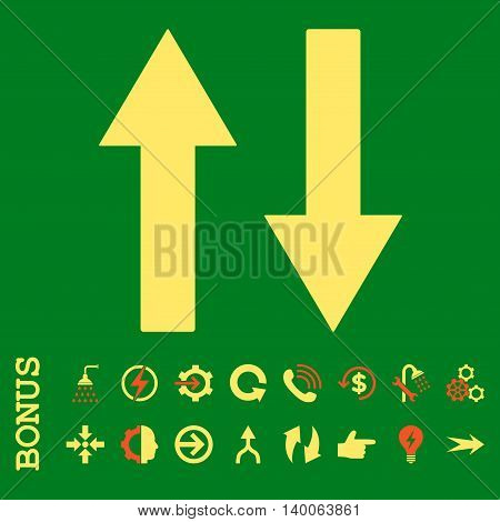 Vertical Flip Arrows glyph bicolor icon. Image style is a flat pictogram symbol, orange and yellow colors, green background.